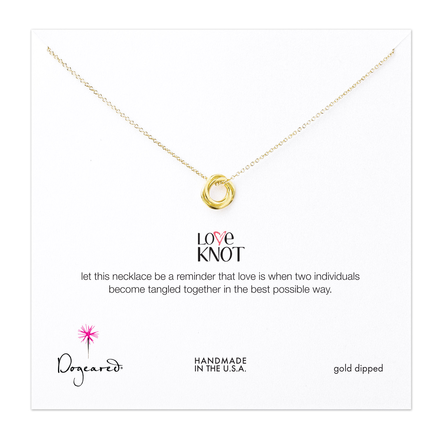 Dogeared Jewelry love knot necklace, gold dipped - 18 inches