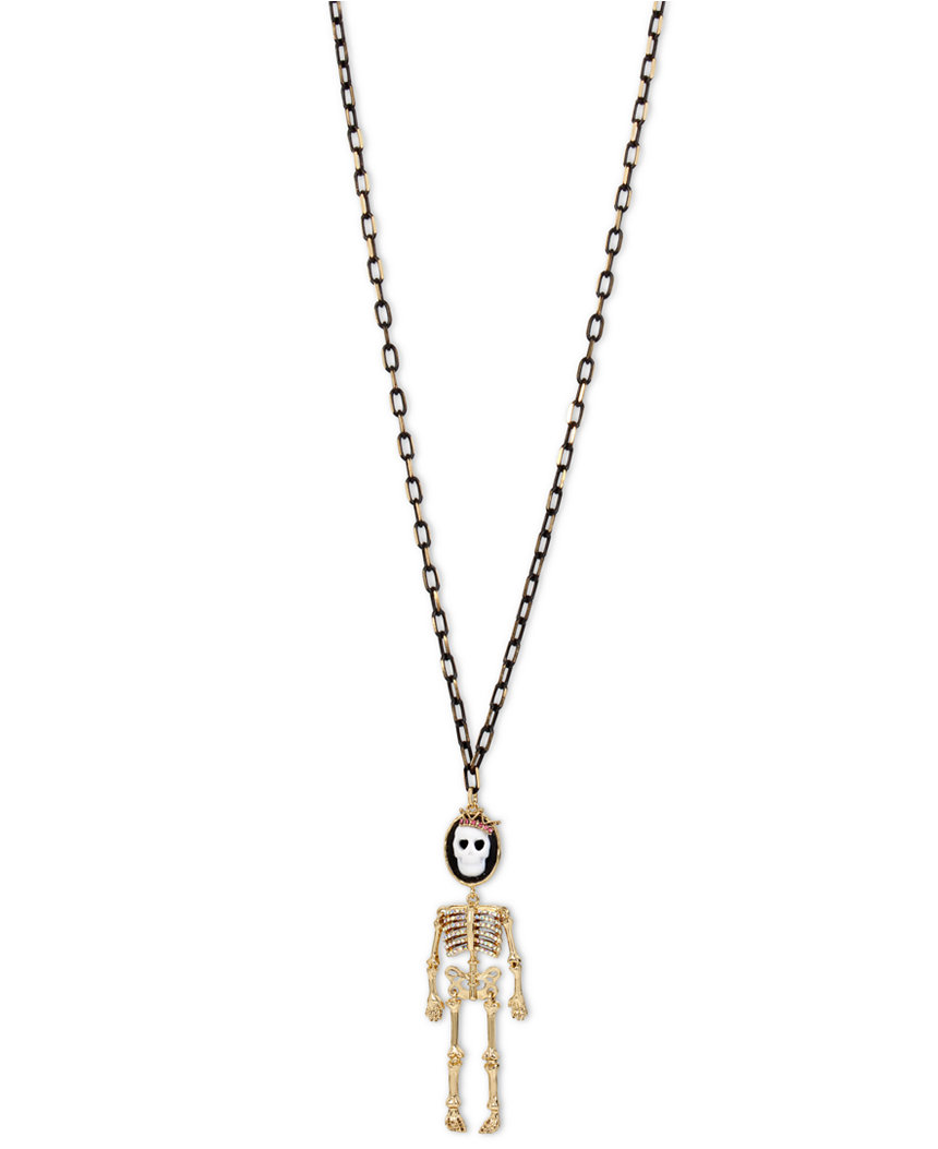 Betsey Johnson Jewelry Halloween Skeleton Cameo Necklace