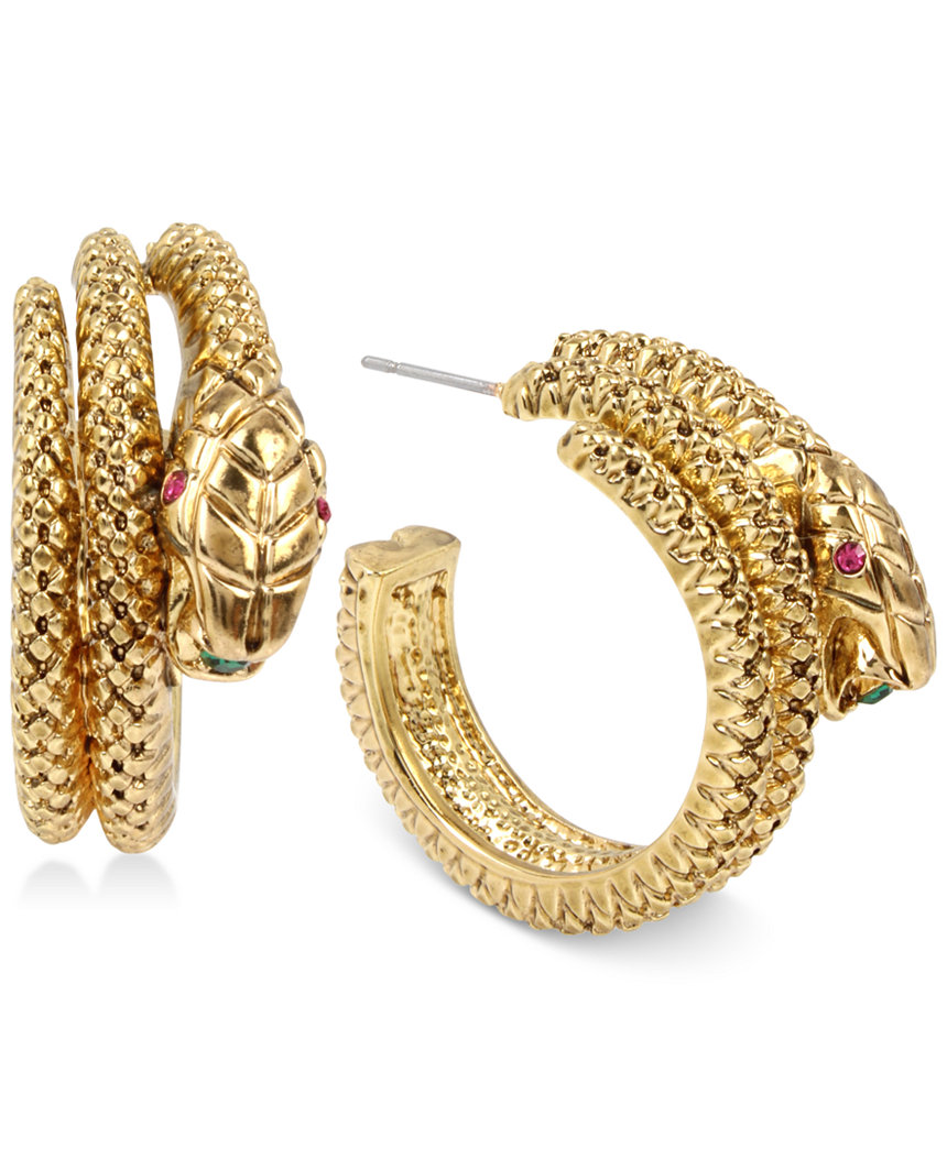 Betsey Johnson Jewelry GARDEN OF EXCESS Gold Tone Snake Hoop Earrings