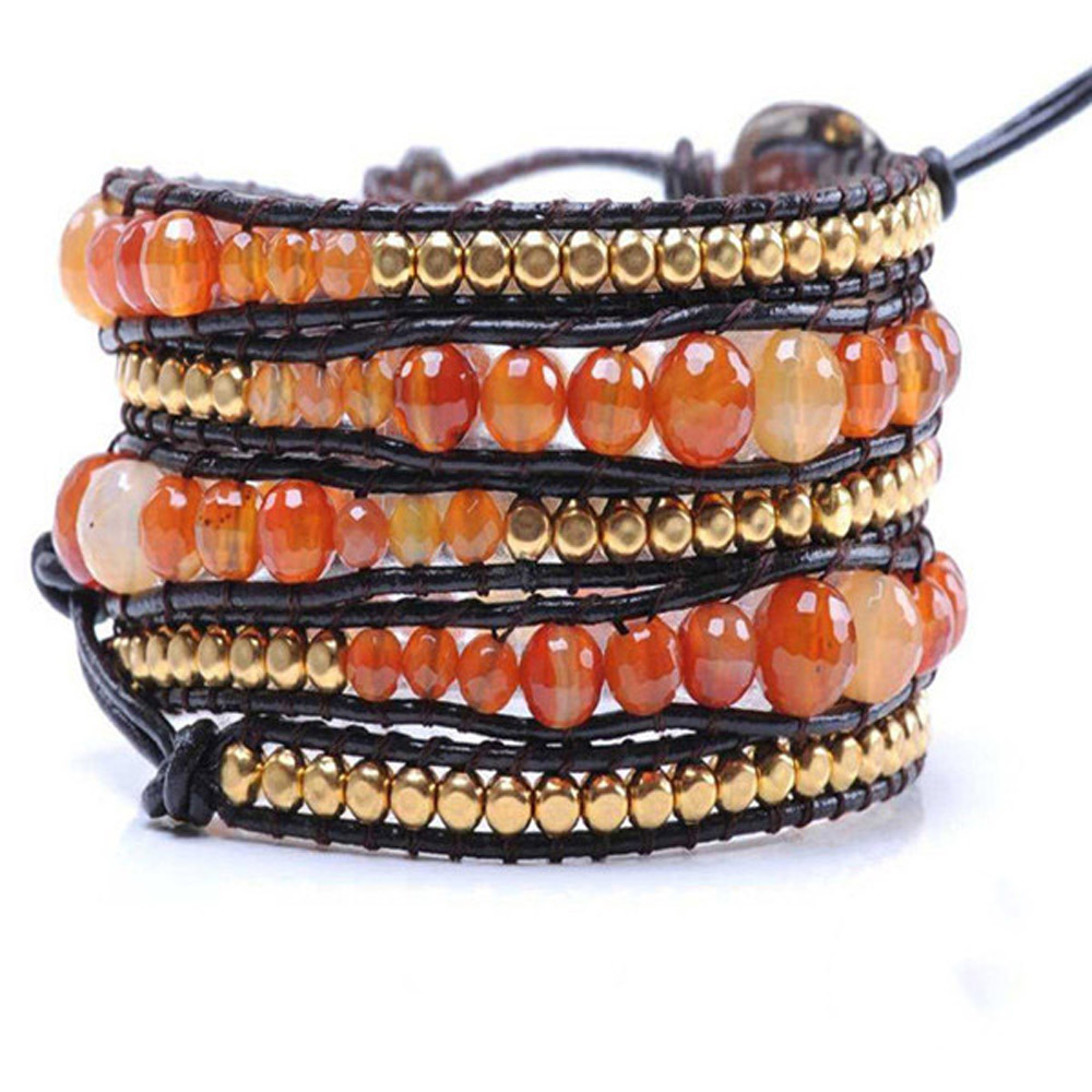 Lin Suu Jewelry Leather Amber With Gold Long Wrap Bracelet