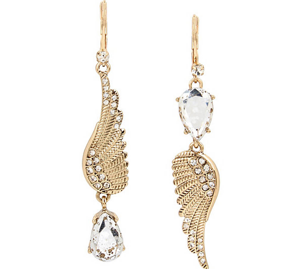 Betsey Johnson Jewelry ANGELS AND WINGS FEATHER MIS MATCH EARRING