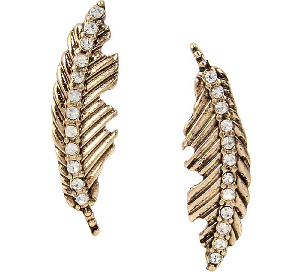 Betsey Johnson Jewelry ANGELS AND WINGS FEATHER STUD EARRING