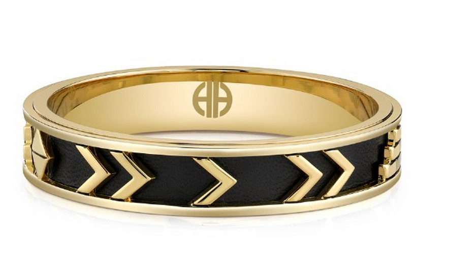 House of Harlow Aztec Bangle with Black Leather