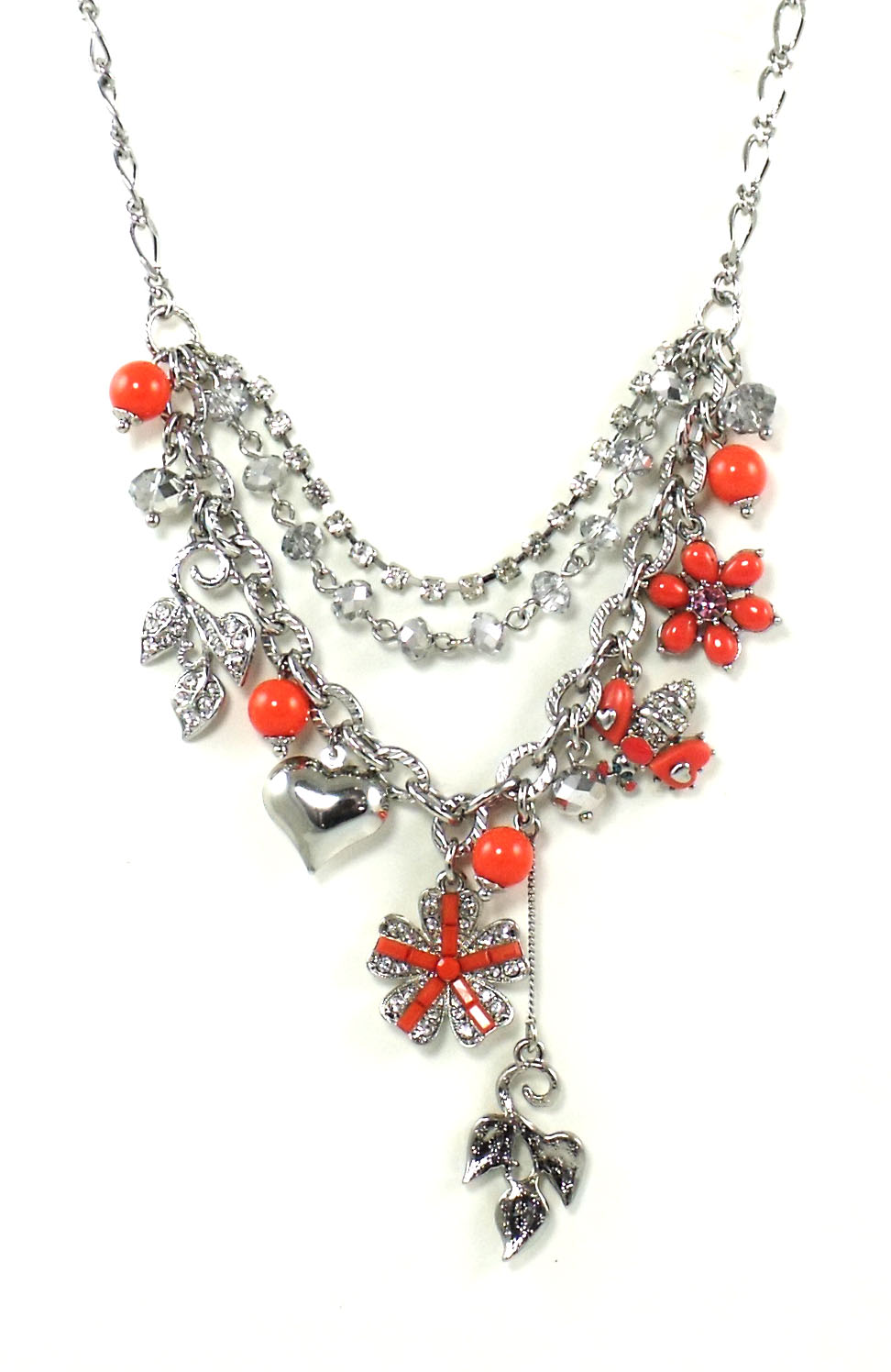 Betsey Johnson Jewelry Iconic Coral Flower Frontal Necklace New