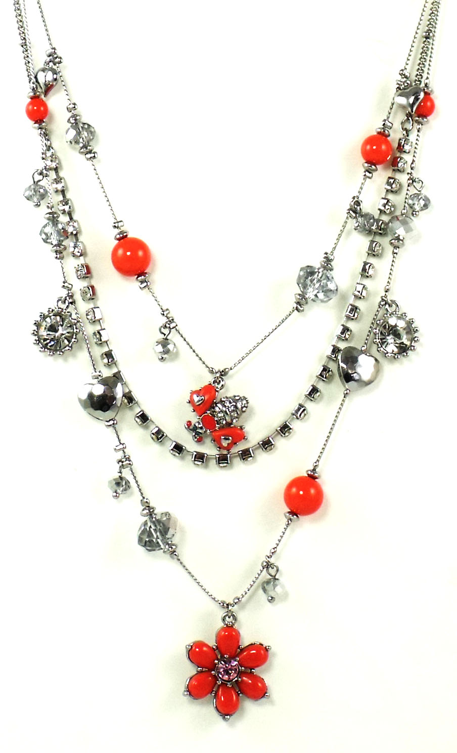 Betsey Johnson Jewelry Iconic Coral Flower Layer Necklace New