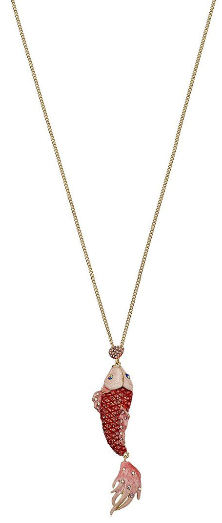 Betsey Johnson Jewelry Keeping The Critters Pave Fish Long Pendant Necklace