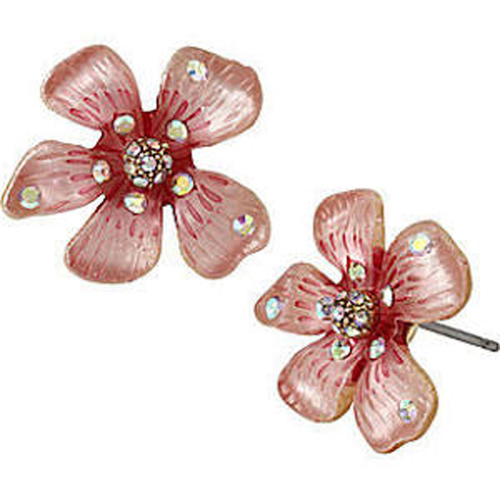 Betsey Johnson Jewelry Luminous Betsey Pink Flower Stud Earrings