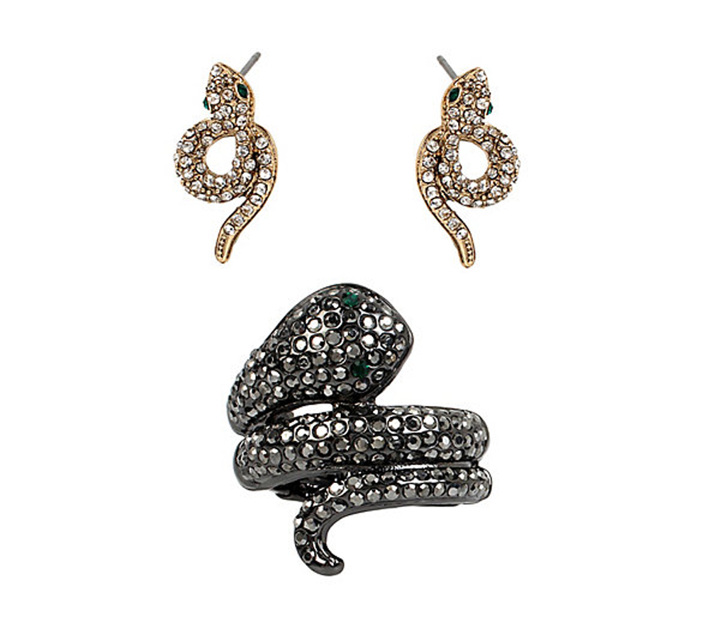 Betsey Johnson Jewelry SUPER SETS SNAKE RING AND EARRINGS