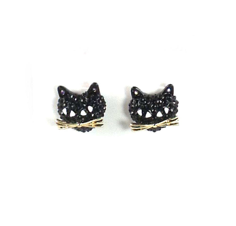 Betsey Johnson Jewelry Halloween Cat Stud Earrings