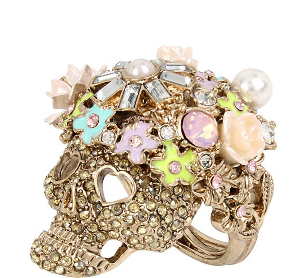 Betsey Johnson Jewelry BETSEYS PINK SKULL COCKTAIL RING