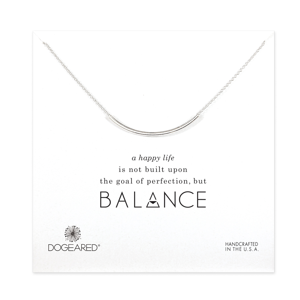 Dogeared Jewelry balance curved tube necklace, sterling silver
