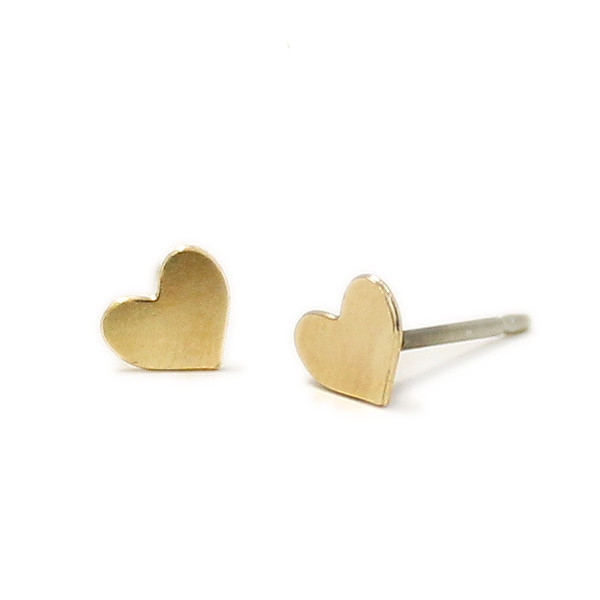 Kris Nations Jewelry Heart Stud Earrings Gold