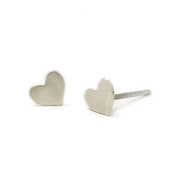 Kris Nations Jewelry Heart Stud Earrings Silver