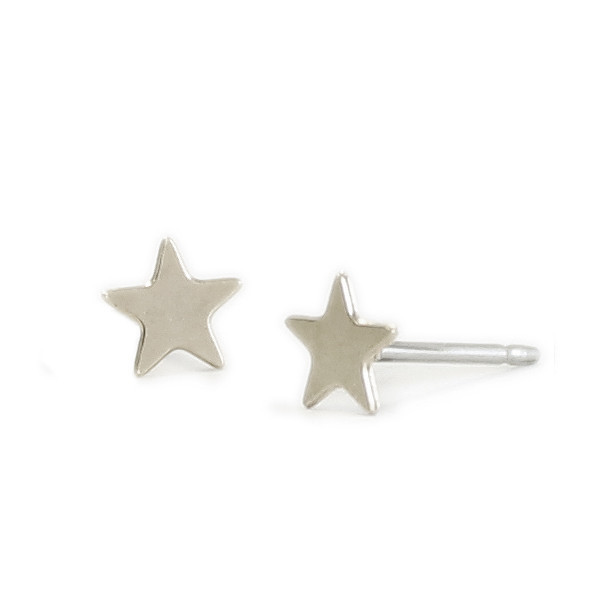 Kris Nations Jewelry Star Stud Earrings Silver