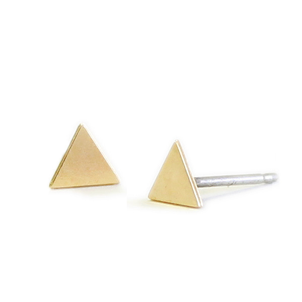 Kris Nations Jewelry Triangle Stud Earrings Gold