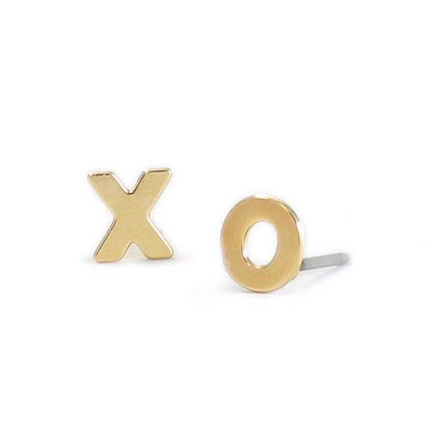 "Kris Nations Jewelry ""XO"" Stud Earrings Gold"