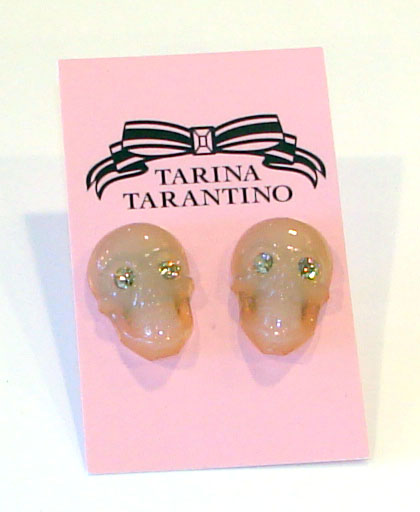 Tarina Tarantino Jewelry LUCITE SKULL post earrings NUDE