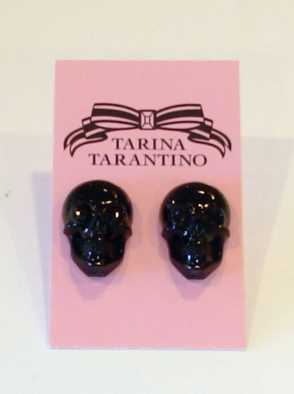 Tarina Tarantino Jewelry LUCITE SKULL post earrings Black