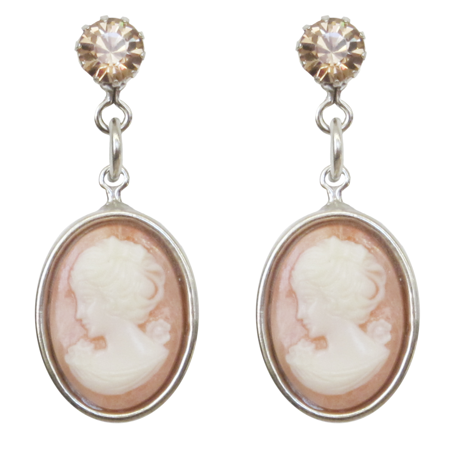 Tarina Tarantino Jewelry Iconic Blush Small Cameo Drop Earrings