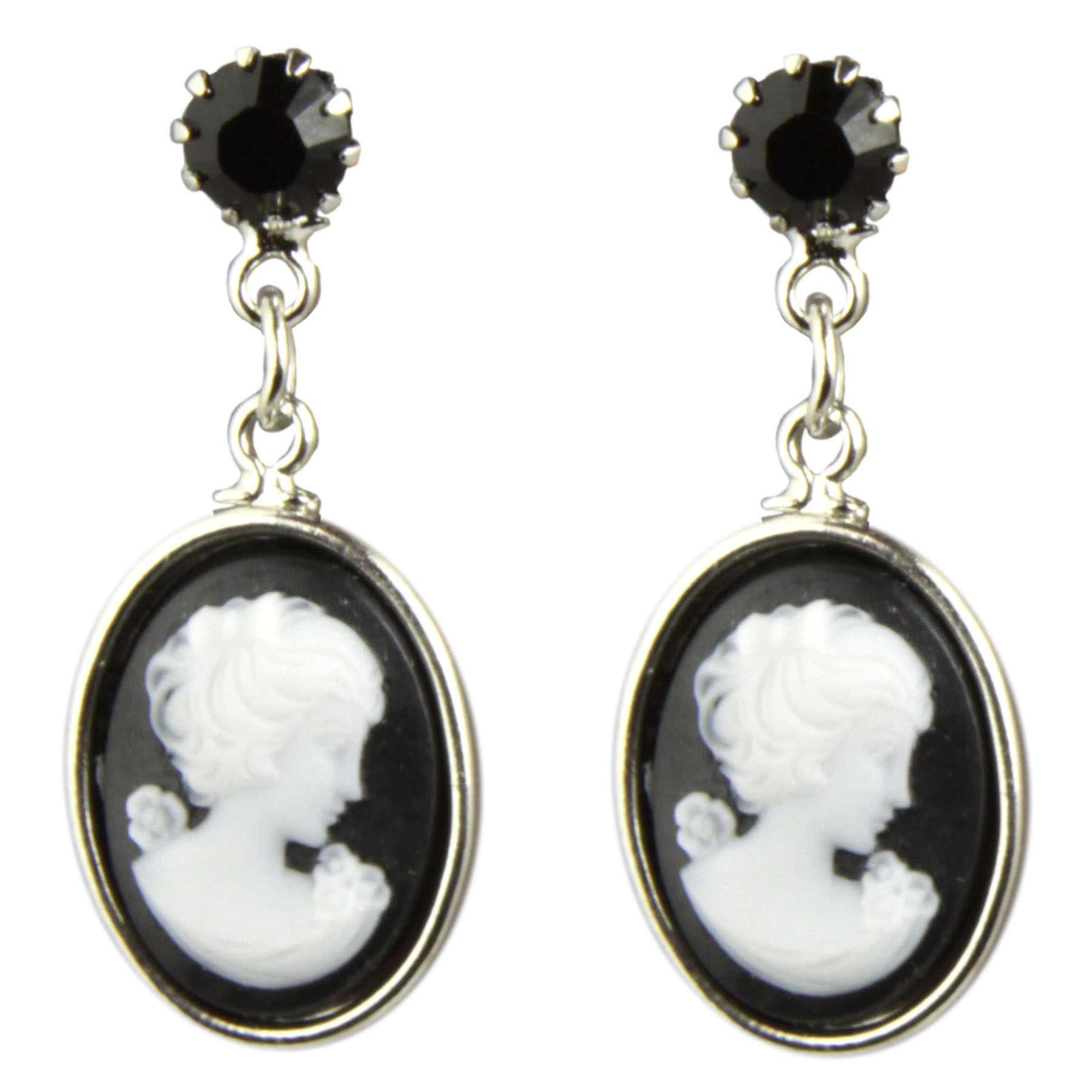 Tarina Tarantino Jewelry Iconic Black Small Cameo Drop Earrings