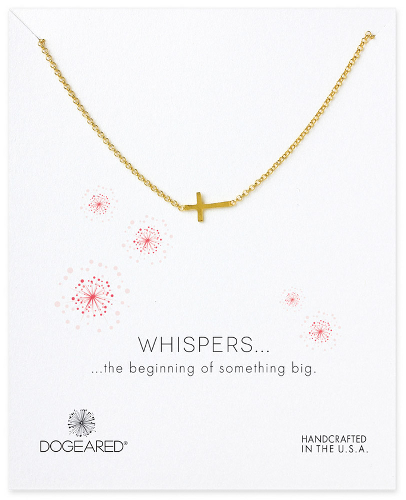Dogeared Jewelry whispers sideways cross necklace, gold dipped