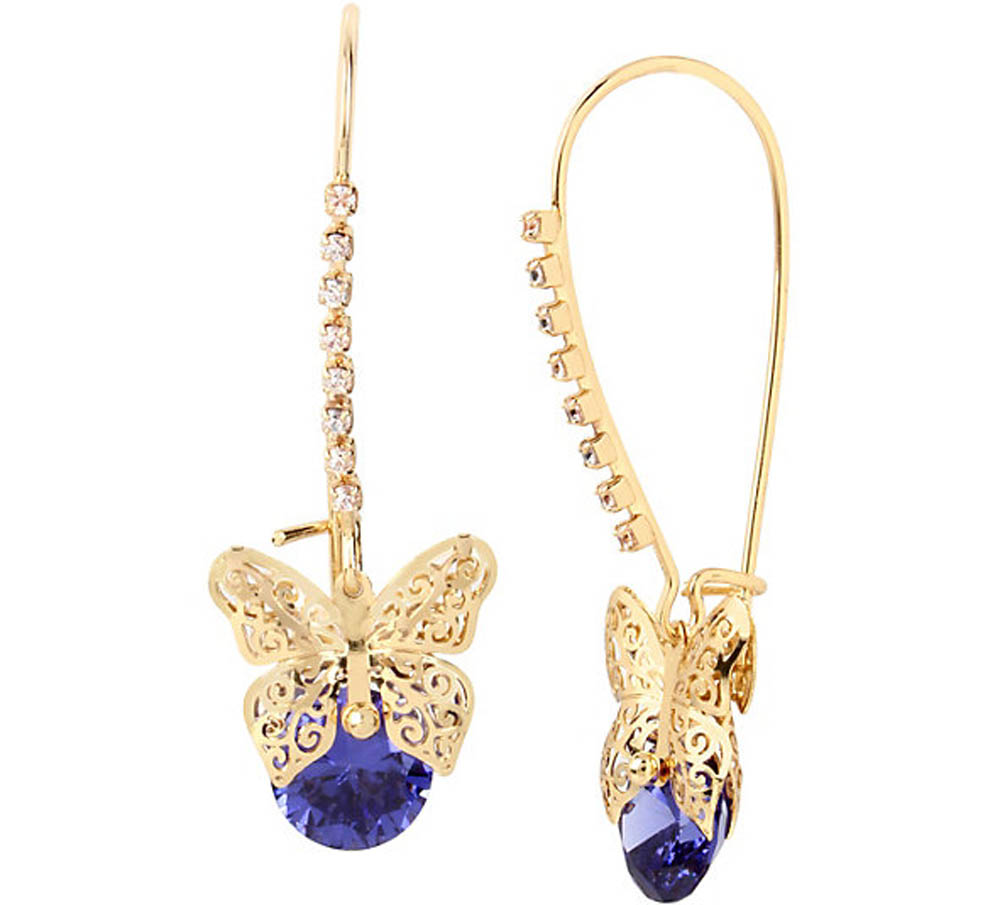 Betsey Johnson Jewelry FALL CRITTERS BUTTERFLY SHEPHARD HOOK EARRING