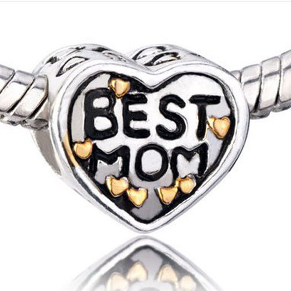 Athena Jewelry Best Mom Charm Silver Bead Gold Hearts