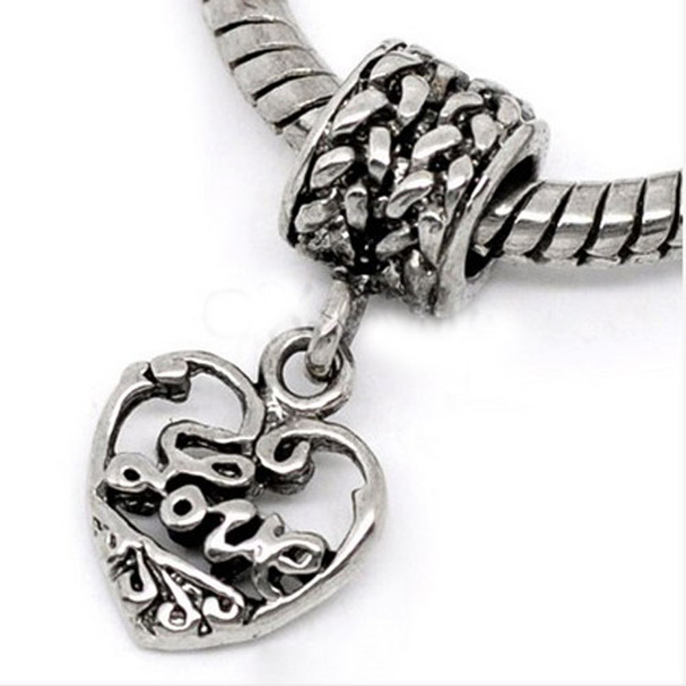 Athena Jewelry Love Dangle Charm Silver Bead