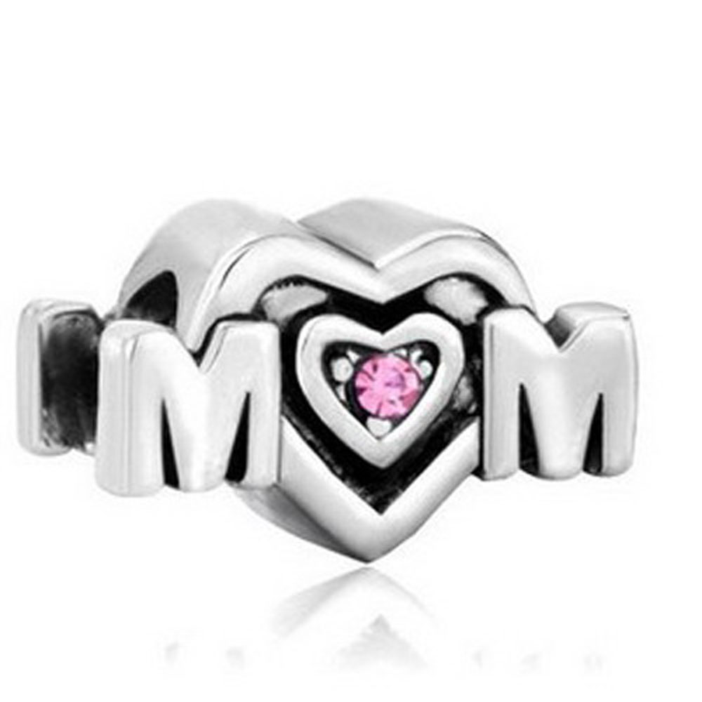 Athena Jewelry Mom Charm Silver Bead Pink Crystal