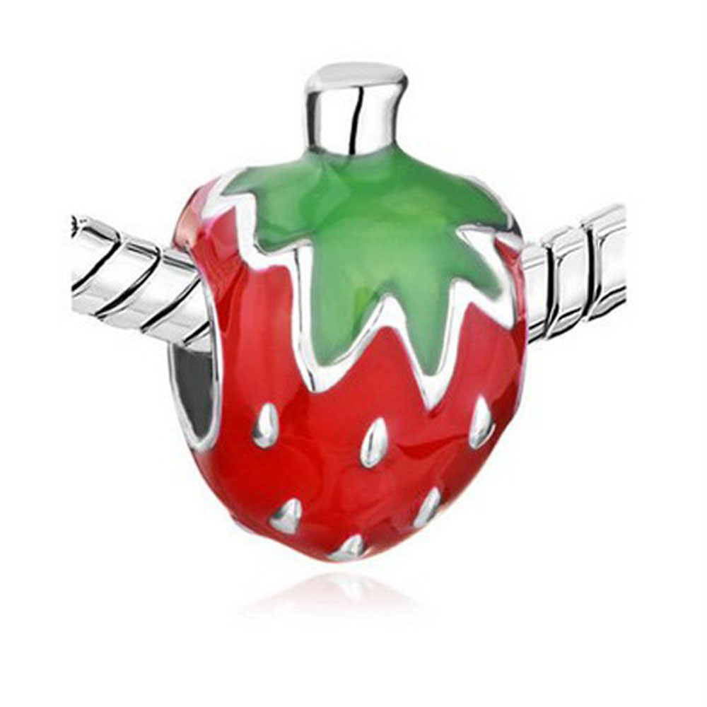 Athena Jewelry Sweet Strawberry Charm Silver Bead Enamel