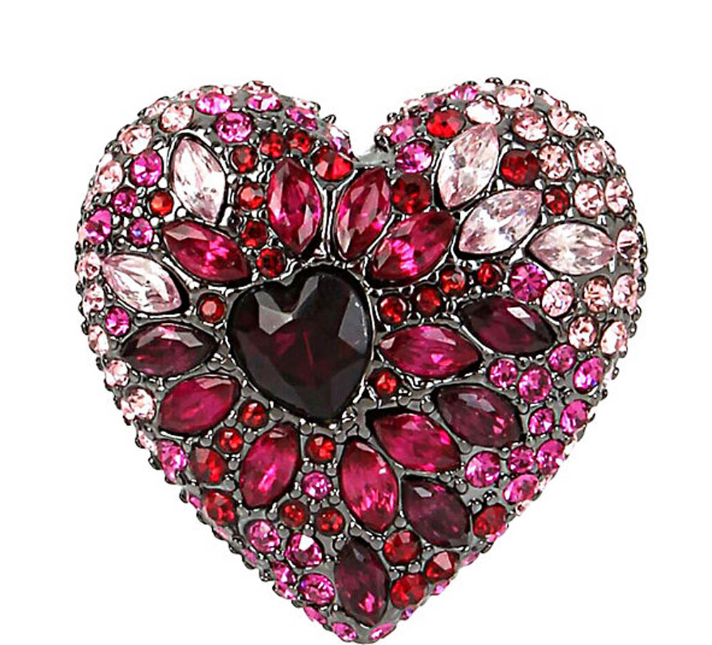 Betsey Johnson Jewelry HEARTS AND ARROWS PAVE HEART RING