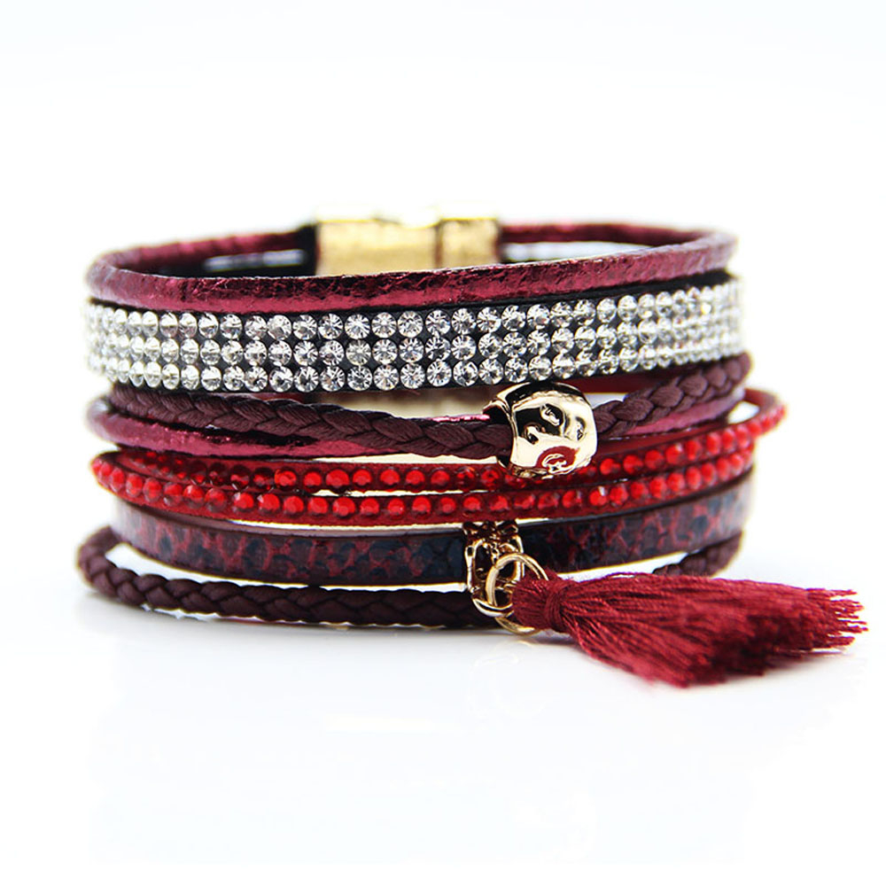 Lin Suu Jewelry Dark Red Multibraided Brazilian Style Bracelet