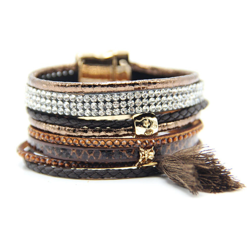 Lin Suu Jewelry Brown Multibraided Hipanema Style Bracelet
