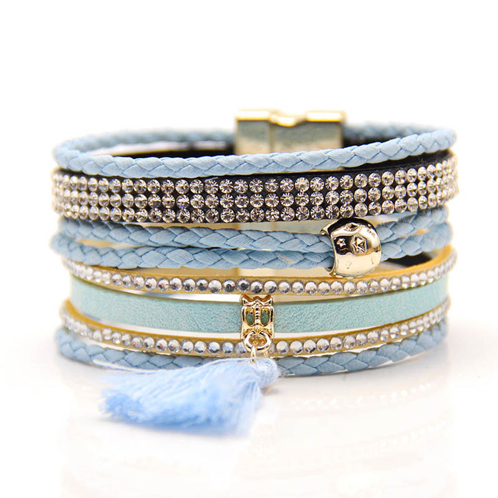 Lin Suu Jewelry Light Blue Multibraided Brazilian Style Bracelet