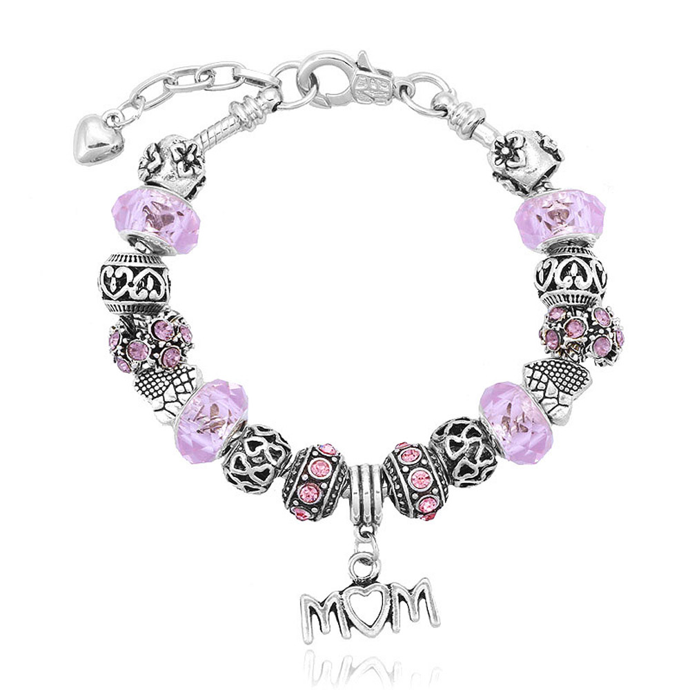 Athena Jewelry Murano Glass Bead Pink Love Mom Charm Bracelet