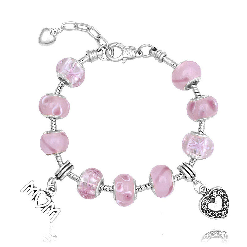 Athena Jewelry Murano Glass Bead Pink Love Heart Charm Bracelet