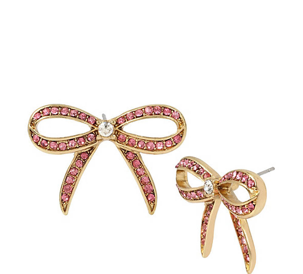 Betsey Johnson Jewelry Marie Antoinette Pink Bow On Earring