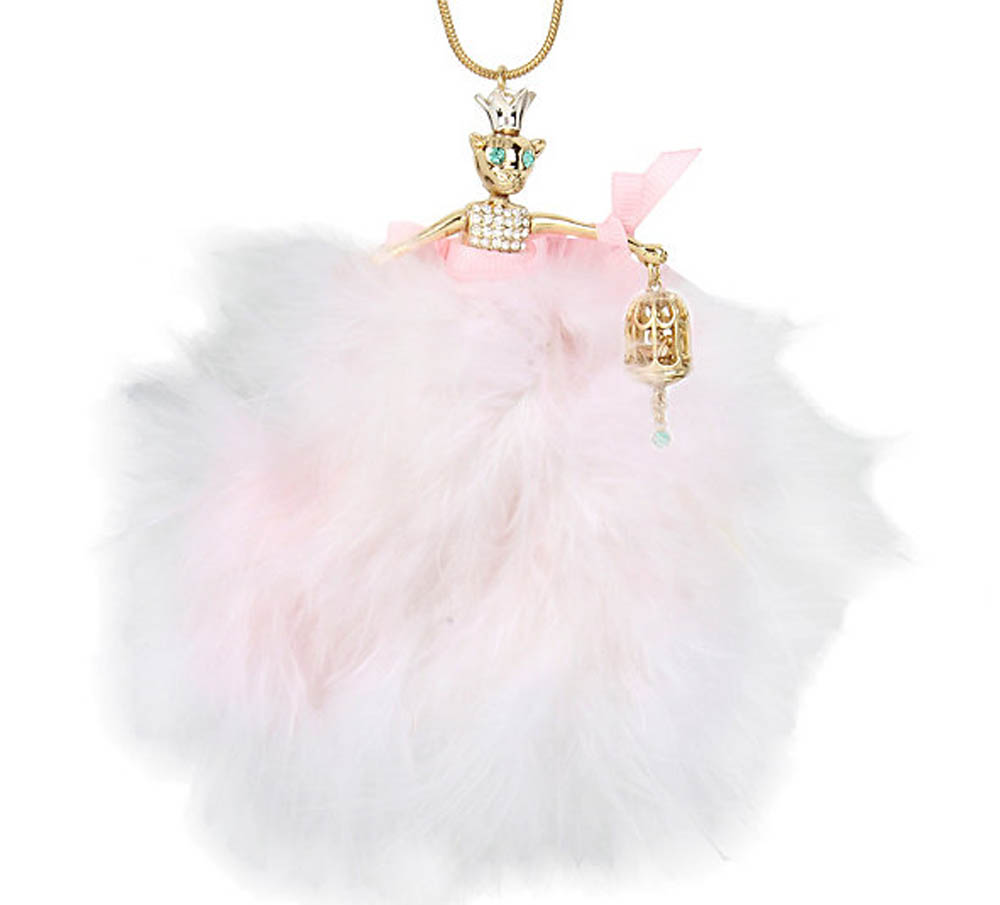 Betsey Johnson Jewelry MARIE ANTOINETTE PINK MOUSE DOLL PENDANT NECKLACE