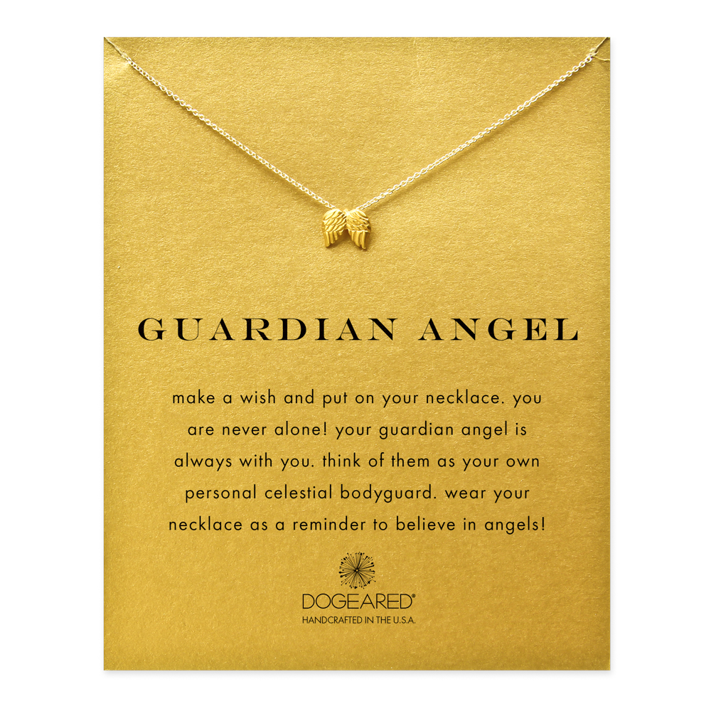 Dogeared Jewelry GUARDIAN ANGEL, ANGEL WINGS NECKLACE, GOLD DIPPED