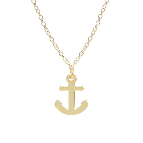 Kris Nations Jewelry Anchor Necklace Gold