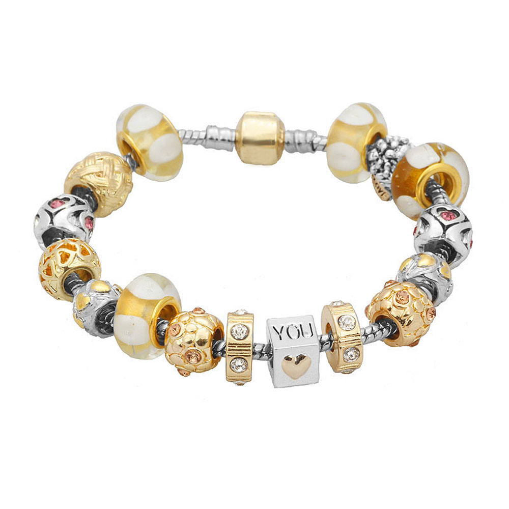 Athena Jewelry Murano Glass Bead I Love You Goldtone Charm Bracelet