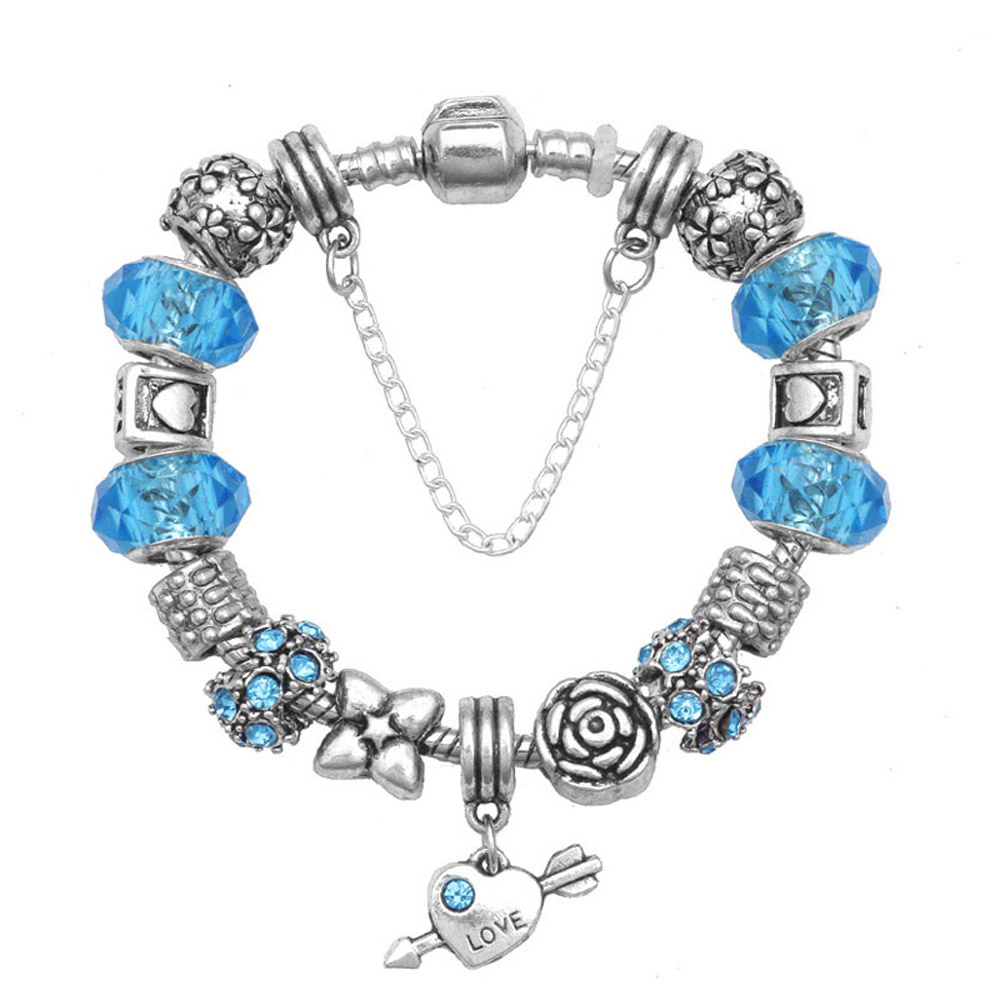Athena Jewelry Murano Glass Bead Love Heart Blue Charm Bracelet