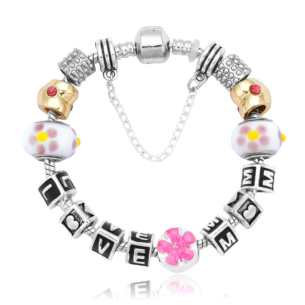Athena Jewelry Murano Glass Bead Love Mom Charm Bracelet