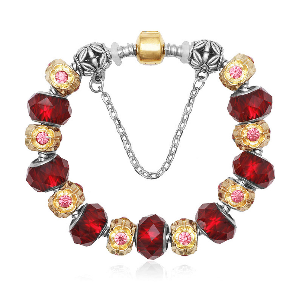Athena Jewelry Murano Glass Bead Red and Goldtone Charm Bracelet