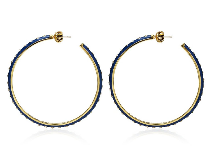 Juicy Couture Jewelry Blue Enamel And Rhinestone Large Hoops Gol