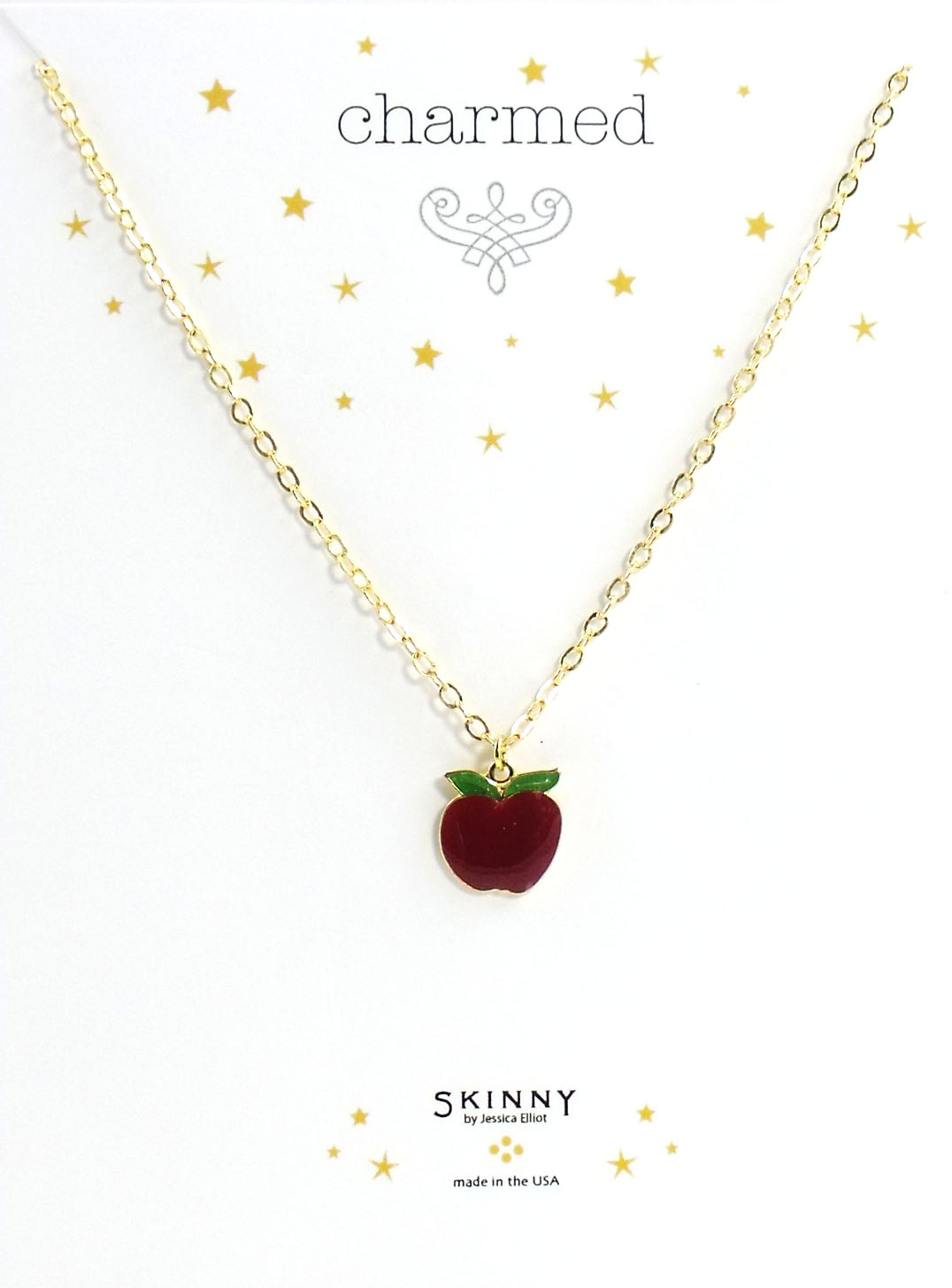 Skinny Jewelry Apple Charm Necklace Gold, by Jessica Elliot