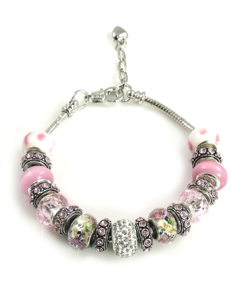 Athena Jewelry Murano Glass Bead Multi Snake Chain Bracelet