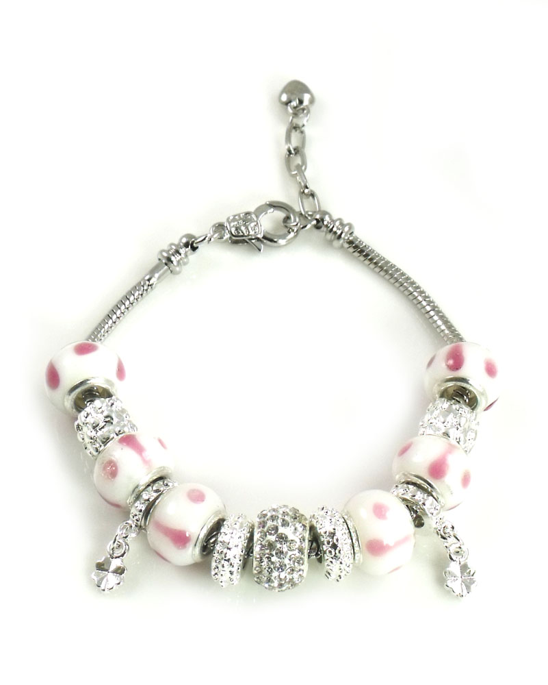 Athena Jewelry Murano Glass Bead White Pink Snake Chain Bracelet