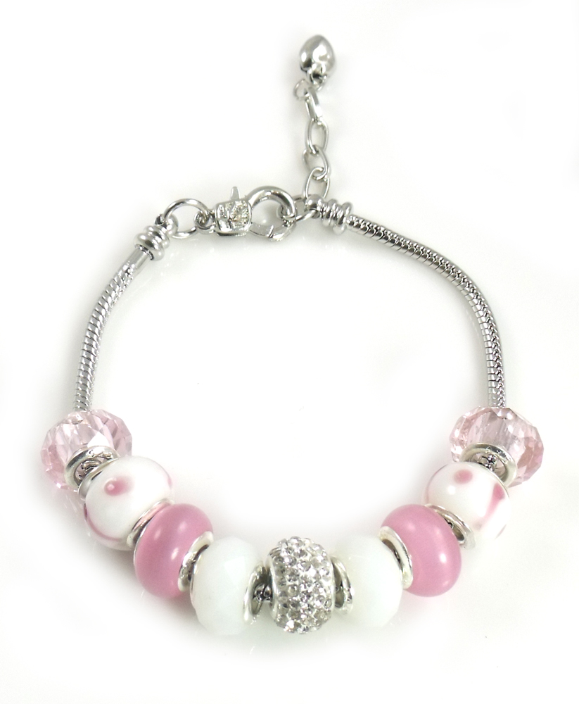 Athena Jewelry Murano Glass Bead Pink Multi Snake Chain Bracelet