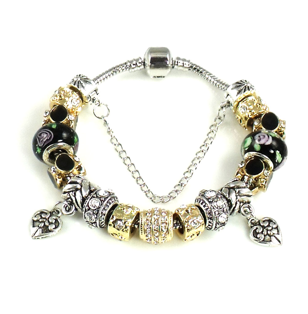 Athena Jewelry Murano Glass Bead Black Goldtone Charm Bracelet